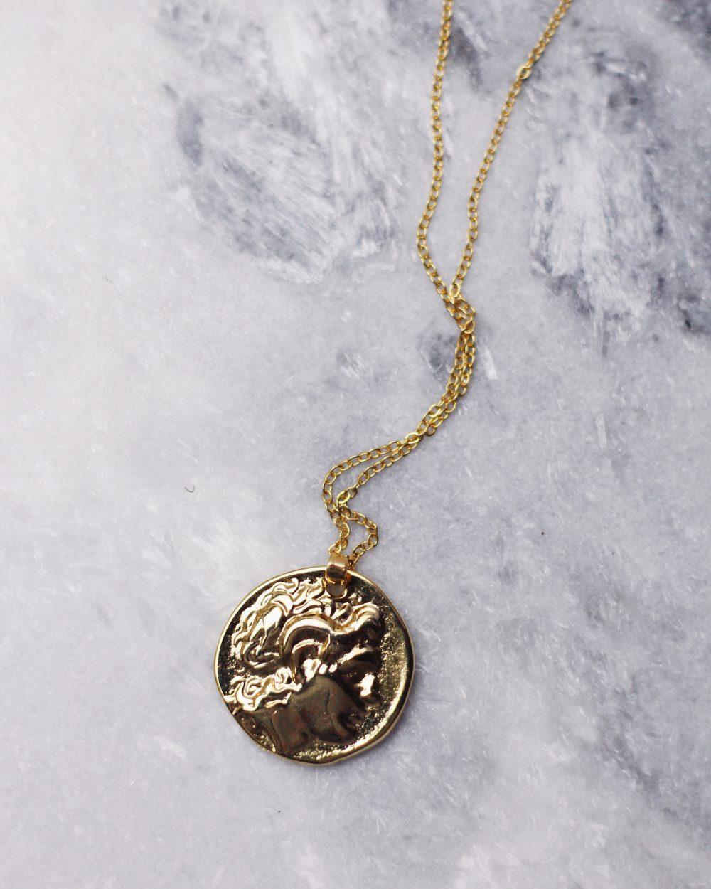 """Dvipusis """"Greek coin"""" pakabukas su simboliais"""