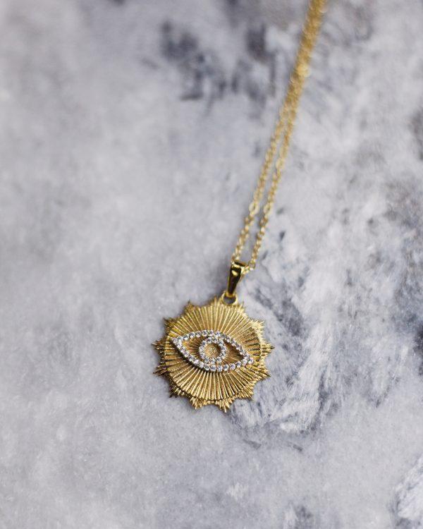 Masyvus medalionas su akies simboliu iš cirkonių | Avram kolekcija